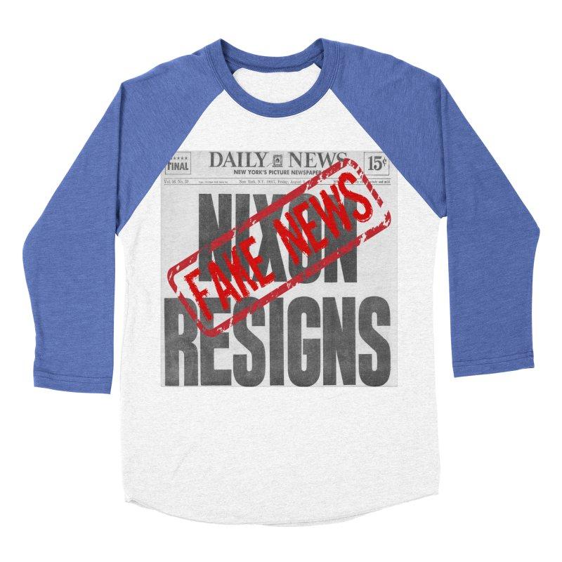 Everything Republican 'FAKE NEWS' Women's Baseball Triblend T-Shirt by Paparaw's T-Shirt Design