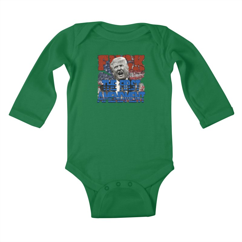 F##K THE FIRST AMENDMENT Kids Baby Longsleeve Bodysuit by Paparaw's T-Shirt Design