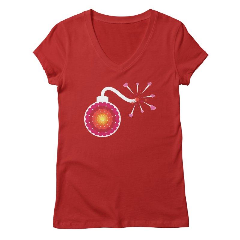Love Bomb Women's V-Neck by Paper Heart Dispatch's Artist Shop