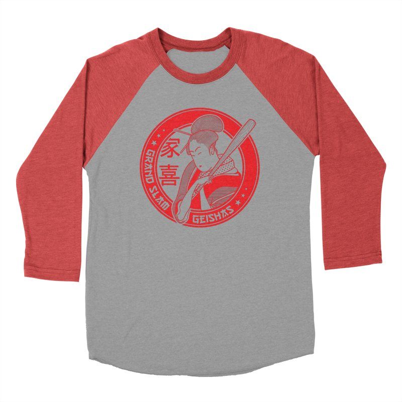 Grand Slam Geishas in Men's Baseball Triblend T-Shirt Chili Red Sleeves by parallelish's Artist Shop