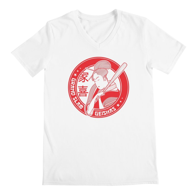 Grand Slam Geishas Men's V-Neck by parallelish's Artist Shop