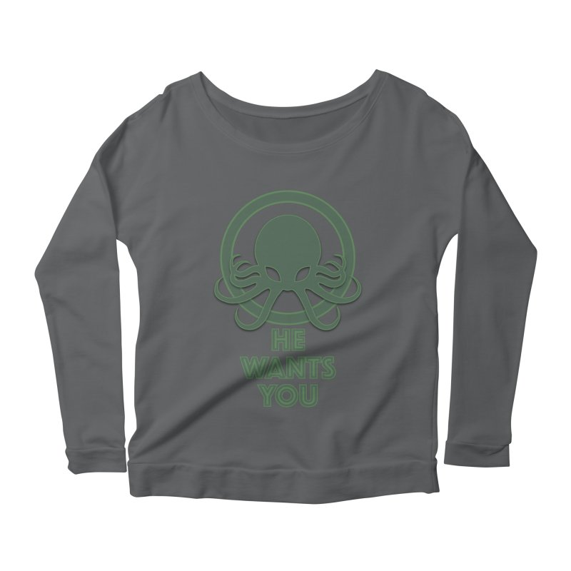 Cthulu wants you Women's Longsleeve Scoopneck  by Parkaboy Designs
