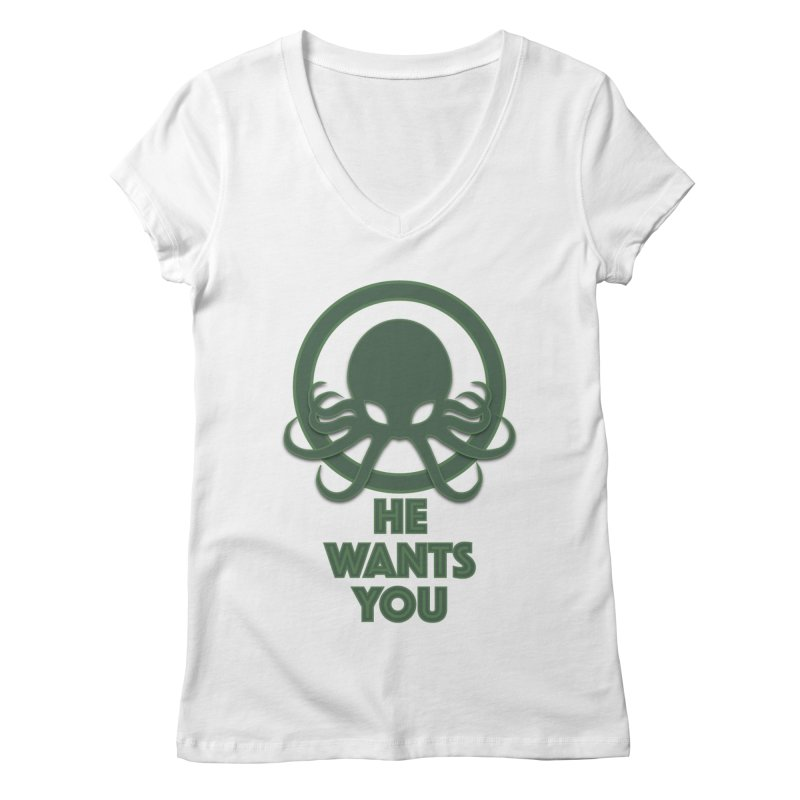 Cthulu wants you Women's V-Neck by Parkaboy Designs
