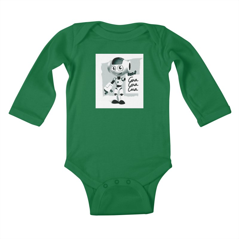 Robot CuaCuaCua Kids Baby Longsleeve Bodysuit by Parkaboy Designs