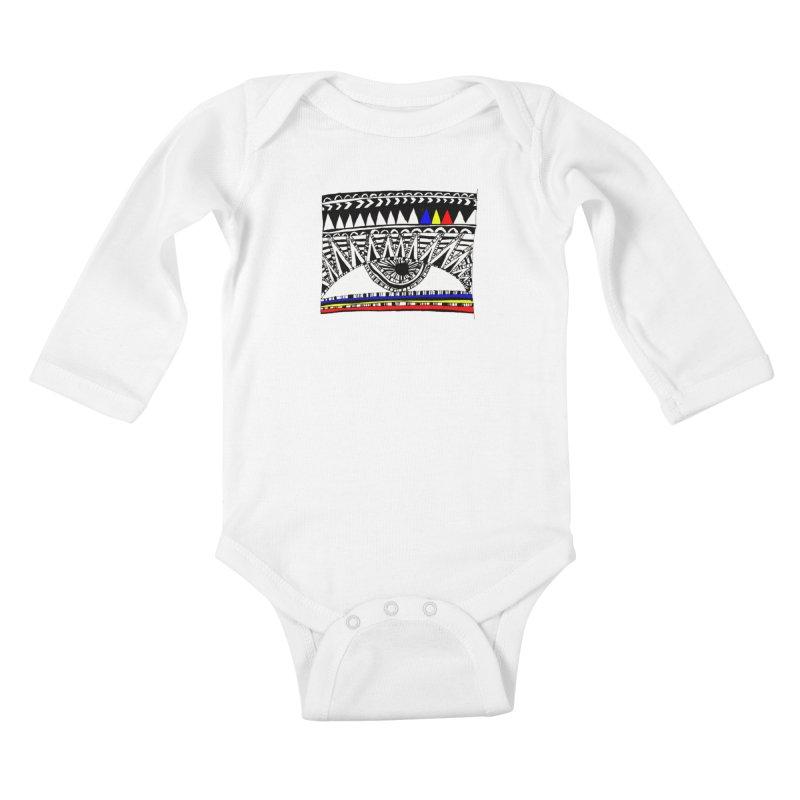 Eye of Ra Kids Baby Longsleeve Bodysuit by PASTEL HONG ART