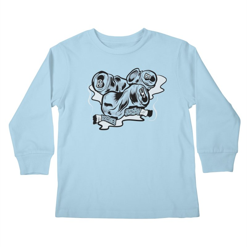 Roadside Trash: Butts and Cans Kids Longsleeve T-Shirt by Pat Higgins Illustration