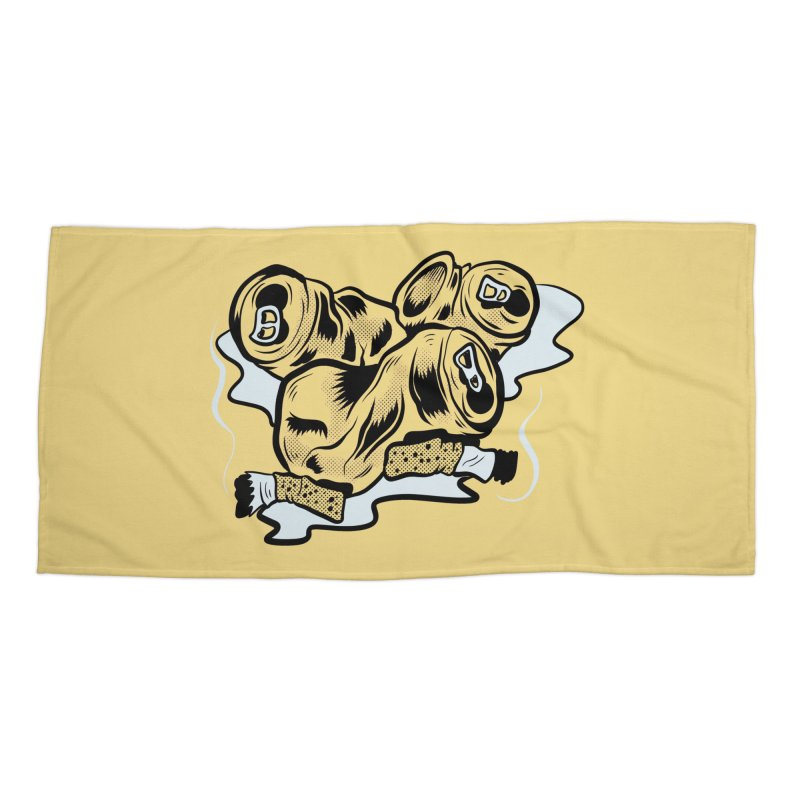 Roadside Trash: Butts and Cans Accessories Beach Towel by Pat Higgins Illustration