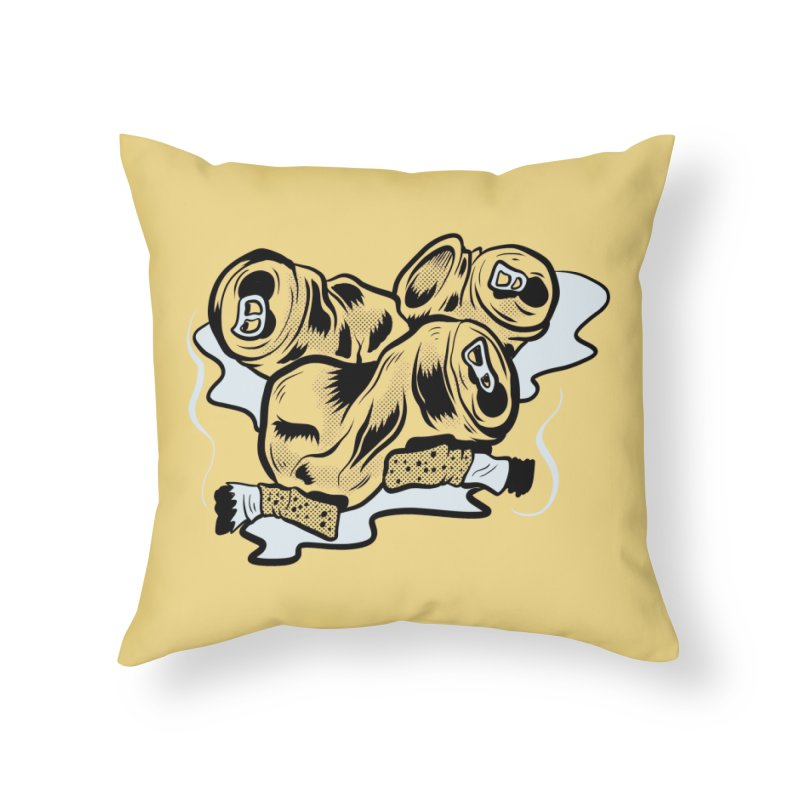 Roadside Trash: Butts and Cans Home Throw Pillow by Pat Higgins Illustration