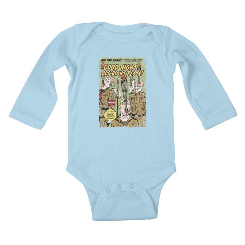 Citronella: Fascism Repellent Kids Baby Longsleeve Bodysuit by Pat Higgins Illustration