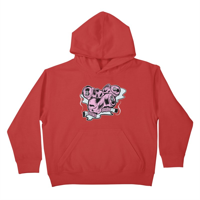 Roadside Trash: Cans and Butts Kids Pullover Hoody by Pat Higgins Illustration
