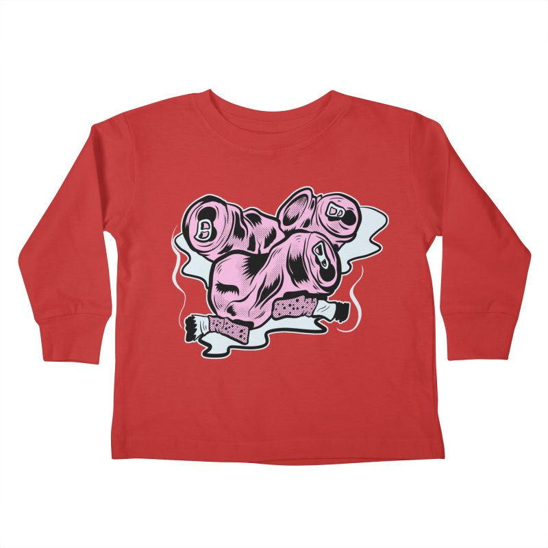 Roadside Trash: Cans and Butts Kids Toddler Longsleeve T-Shirt by Pat Higgins Illustration
