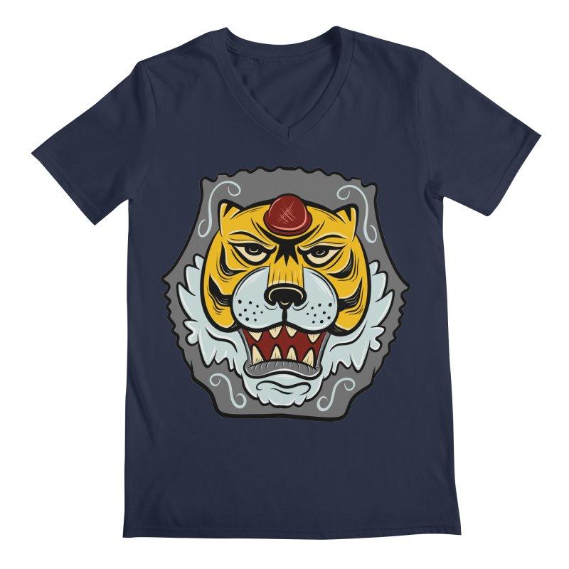 La Tigre Della Strada Men's V-Neck by Pat Higgins Illustration