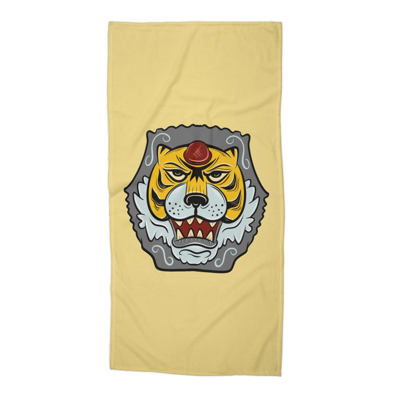 La Tigre Della Strada Accessories Beach Towel by Pat Higgins Illustration