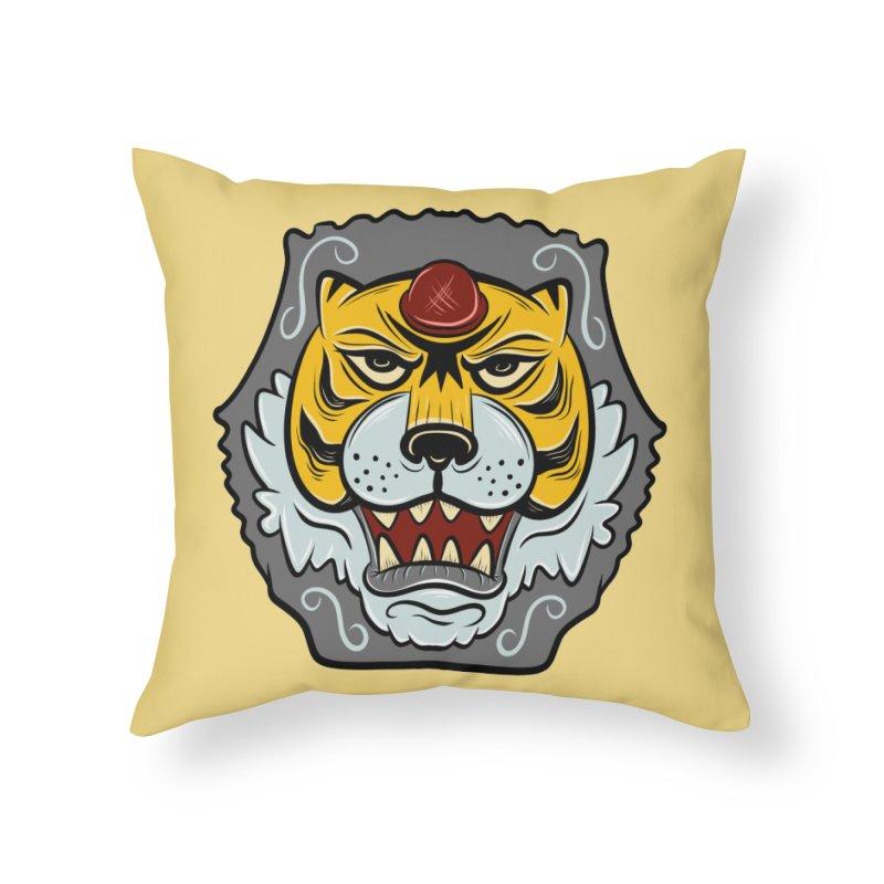 La Tigre Della Strada Home Throw Pillow by Pat Higgins Illustration