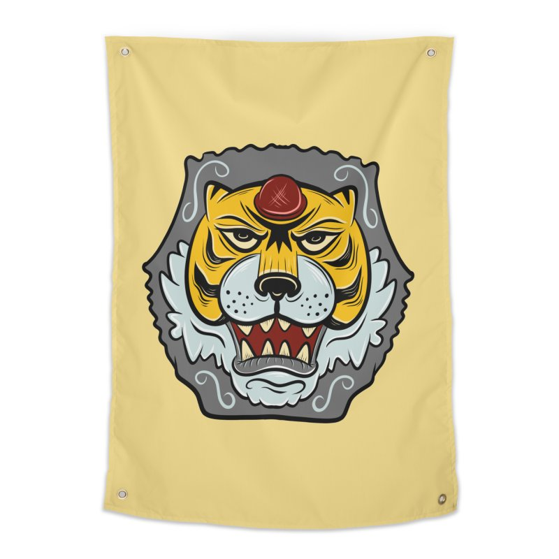 La Tigre Della Strada Home Tapestry by Pat Higgins Illustration