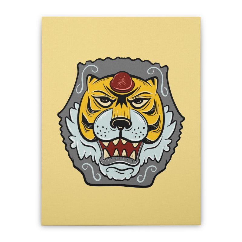 La Tigre Della Strada Home Stretched Canvas by Pat Higgins Illustration