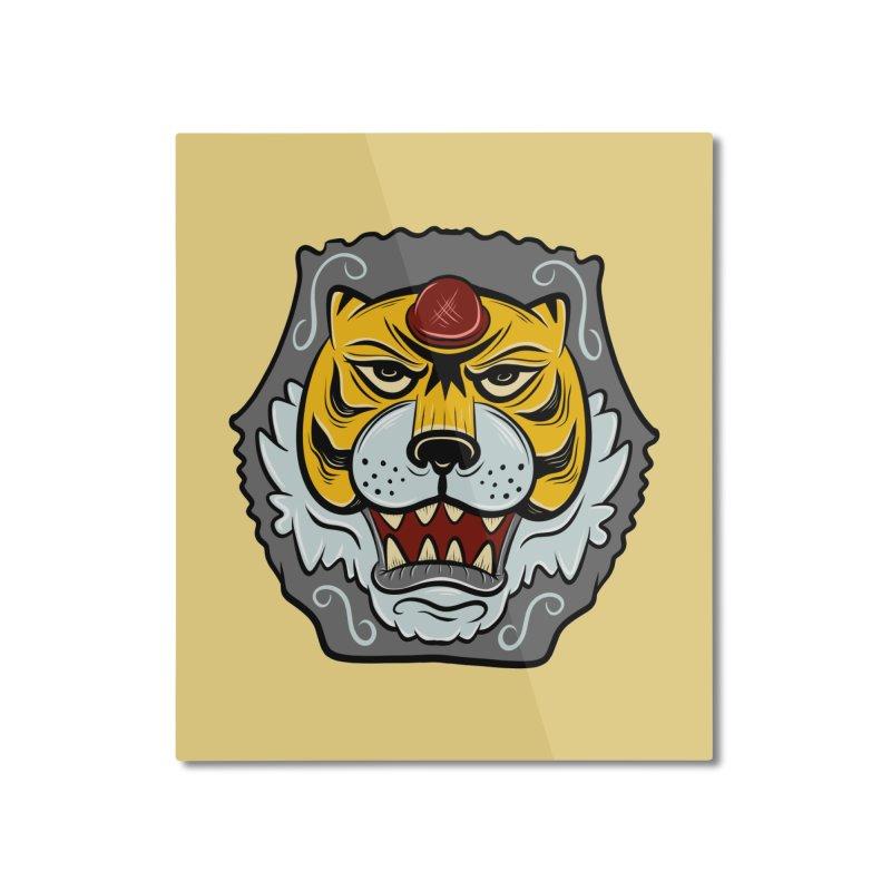La Tigre Della Strada Home Mounted Aluminum Print by Pat Higgins Illustration