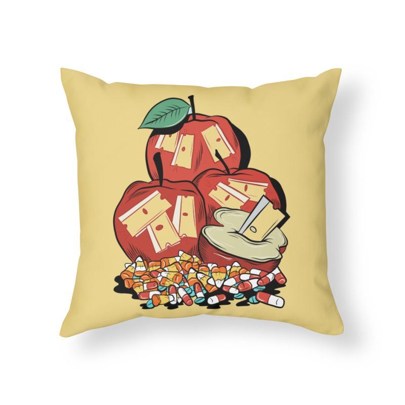 Trick or Treat Home Throw Pillow by Pat Higgins Illustration