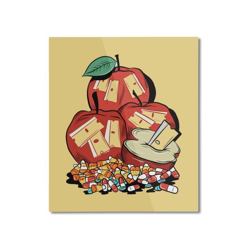 Trick or Treat Home Mounted Aluminum Print by Pat Higgins Illustration