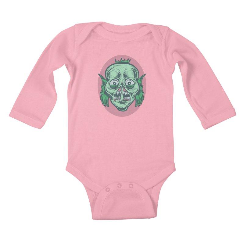 The Split Faced Creature Kids Baby Longsleeve Bodysuit by Pat Higgins Illustration