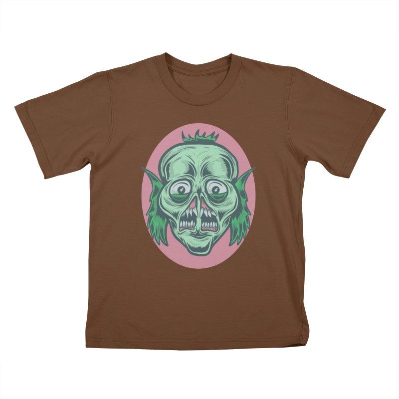 The Split Faced Creature Kids T-Shirt by Pat Higgins Illustration