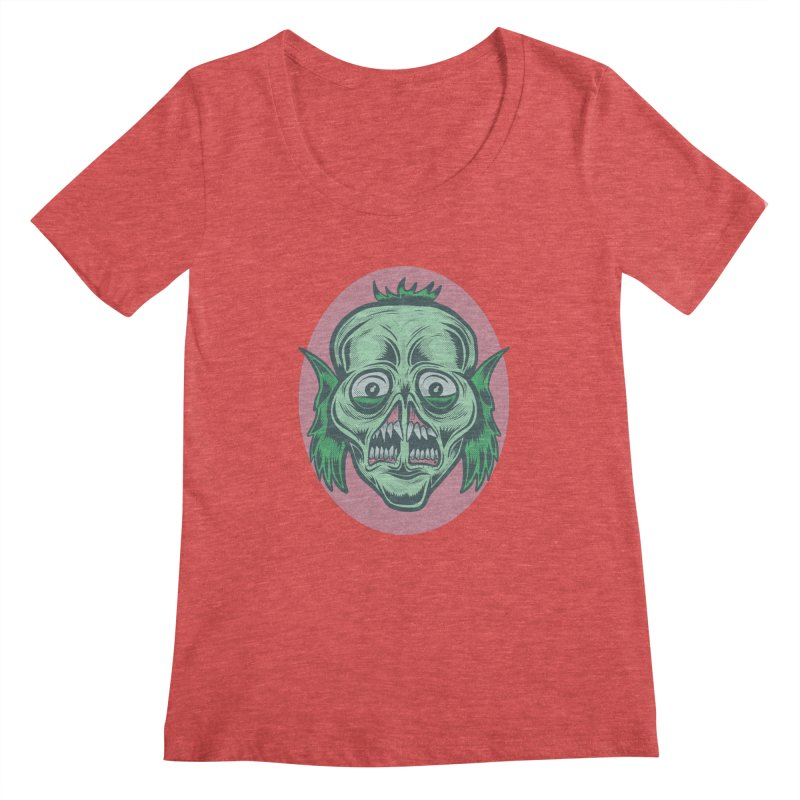 The Split Faced Creature Women's Scoopneck by Pat Higgins Illustration