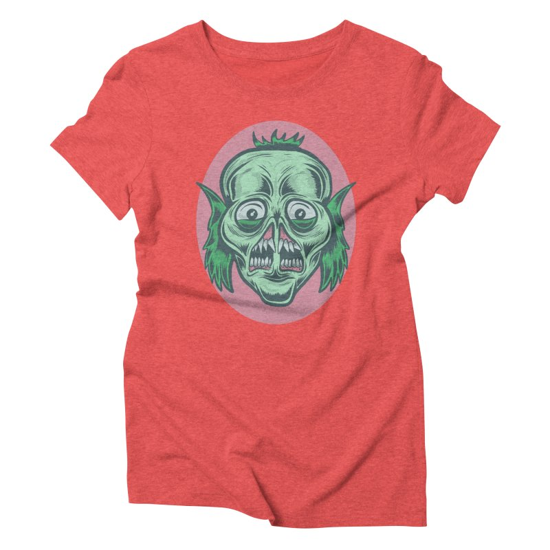 The Split Faced Creature Women's Triblend T-Shirt by Pat Higgins Illustration