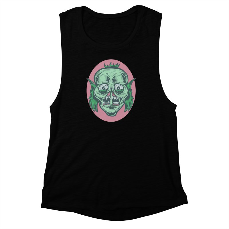 The Split Faced Creature Women's Muscle Tank by Pat Higgins Illustration