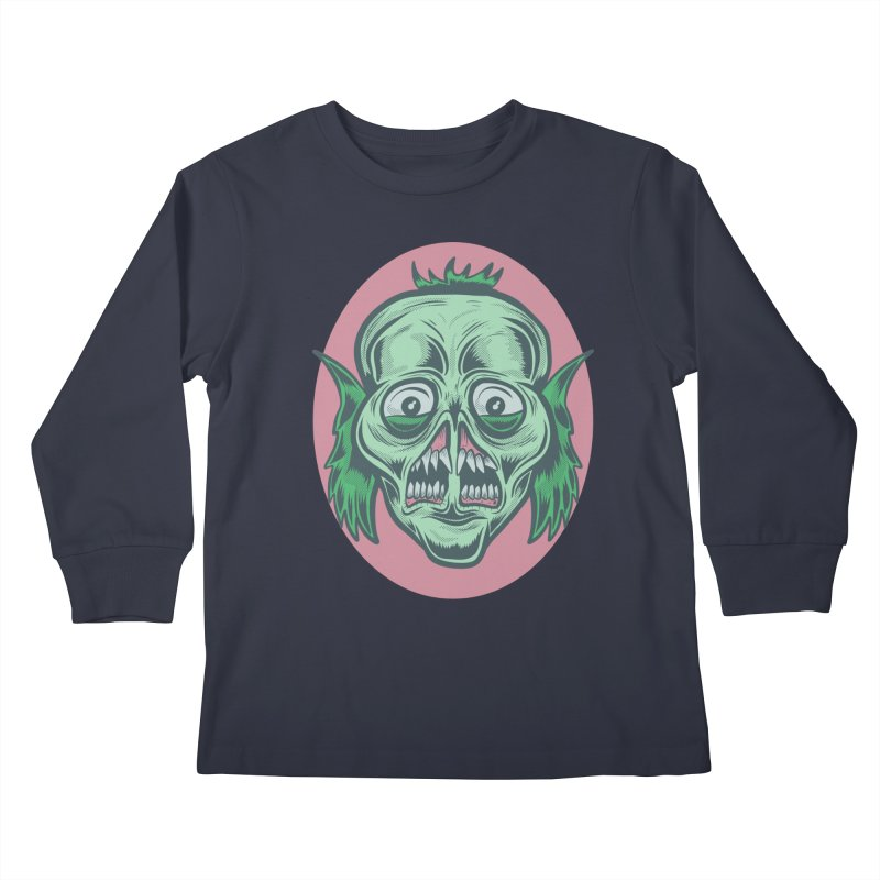 The Split Faced Creature Kids Longsleeve T-Shirt by Pat Higgins Illustration