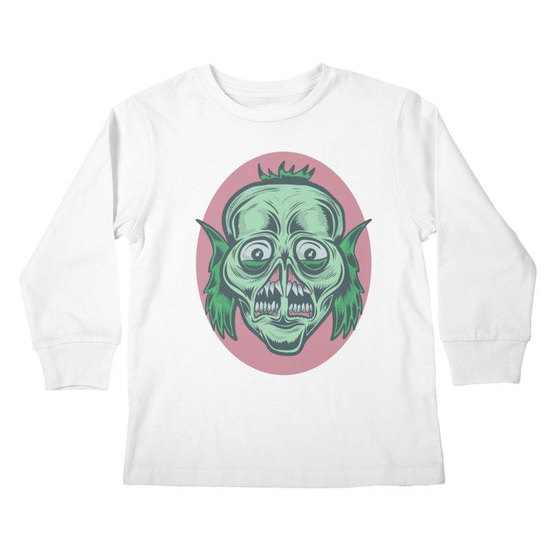 The Split Faced Creature Kids Longsleeve T-Shirt by Pat Higgins Illustration