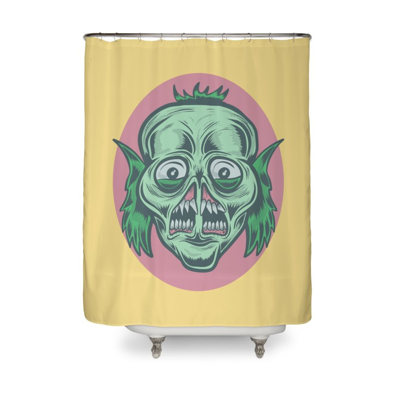 The Split Faced Creature Home Shower Curtain by Pat Higgins Illustration