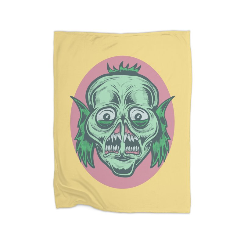 The Split Faced Creature Home Blanket by Pat Higgins Illustration