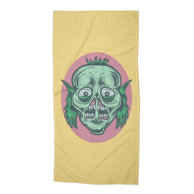 The Split Faced Creature Accessories Beach Towel by Pat Higgins Illustration