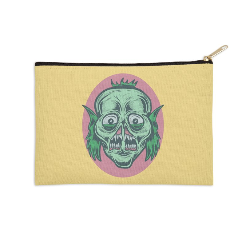 The Split Faced Creature Accessories Zip Pouch by Pat Higgins Illustration