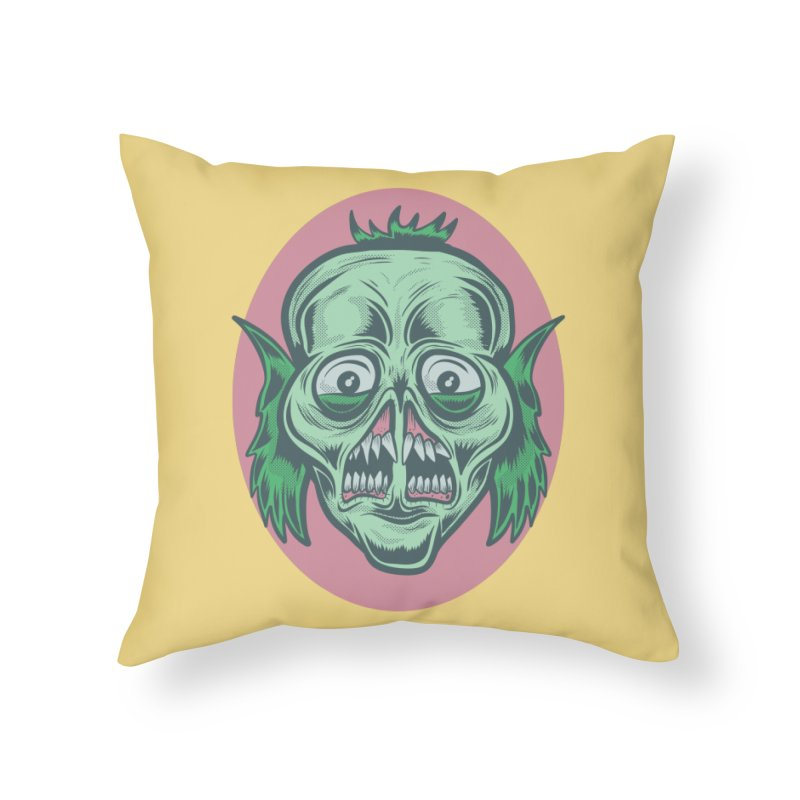 The Split Faced Creature Home Throw Pillow by Pat Higgins Illustration