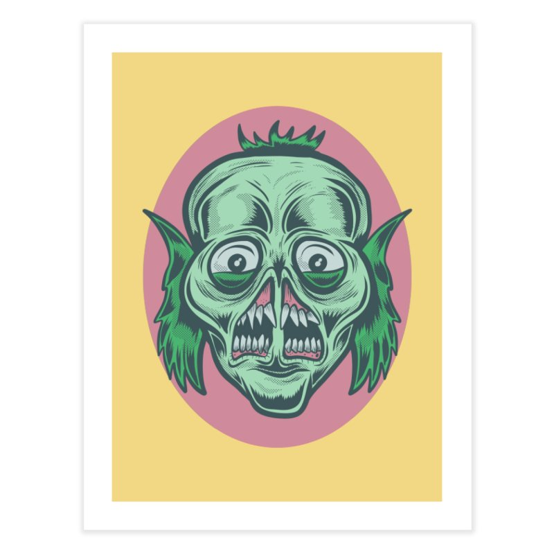 The Split Faced Creature Home Fine Art Print by Pat Higgins Illustration