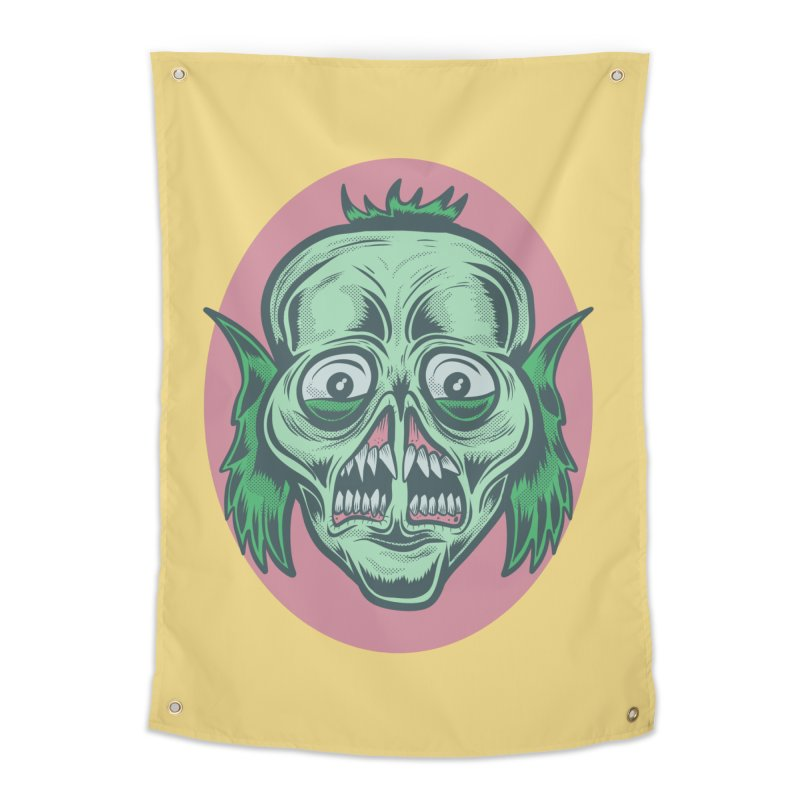 The Split Faced Creature Home Tapestry by Pat Higgins Illustration