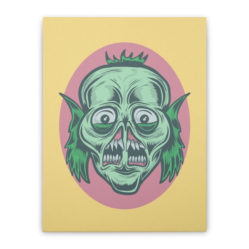 The Split Faced Creature Home Stretched Canvas by Pat Higgins Illustration