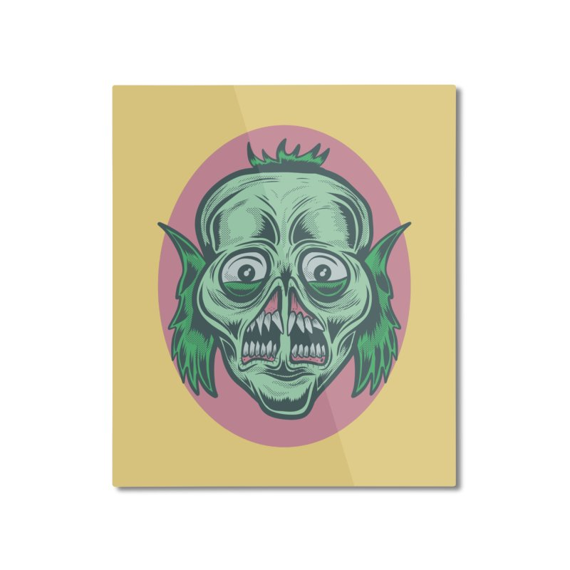 The Split Faced Creature Home Mounted Aluminum Print by Pat Higgins Illustration