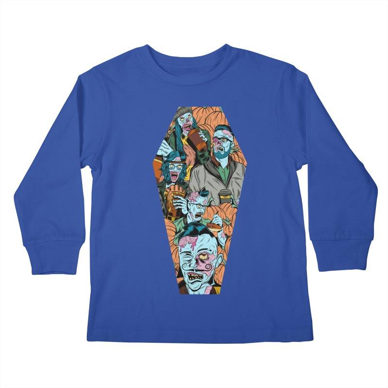 Death by Pumpkin Kids Longsleeve T-Shirt by Pat Higgins Illustration