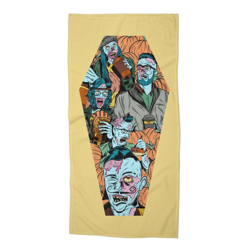 Death by Pumpkin Accessories Beach Towel by Pat Higgins Illustration