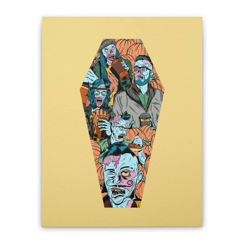 Death by Pumpkin Home Stretched Canvas by Pat Higgins Illustration