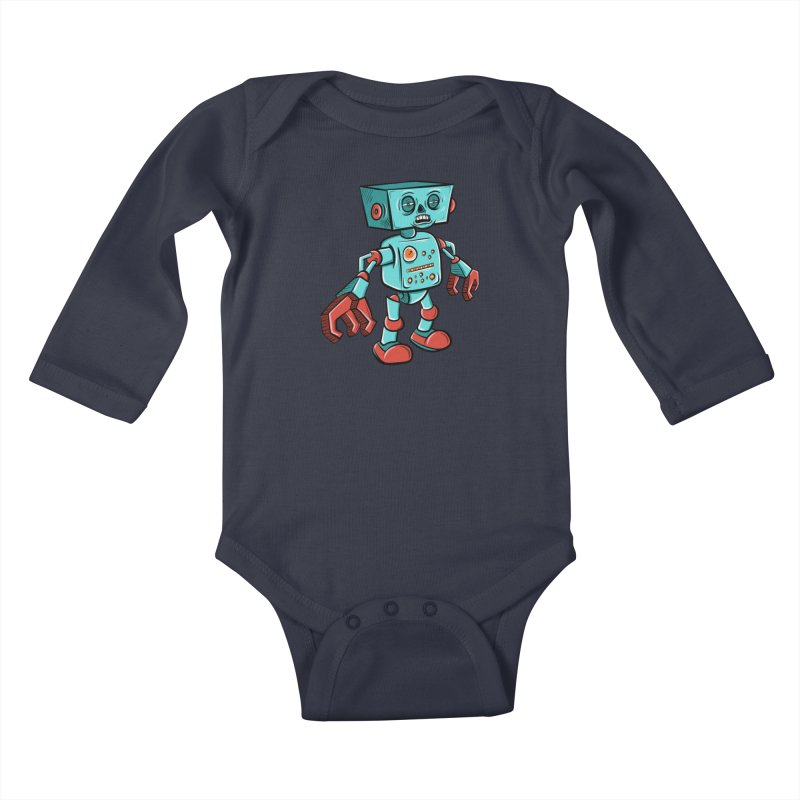 62d9d9 - Astro the Android Kids Baby Longsleeve Bodysuit by Pat Higgins Illustration