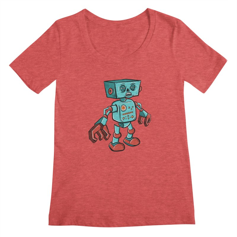 62d9d9 - Astro the Android Women's Scoopneck by Pat Higgins Illustration