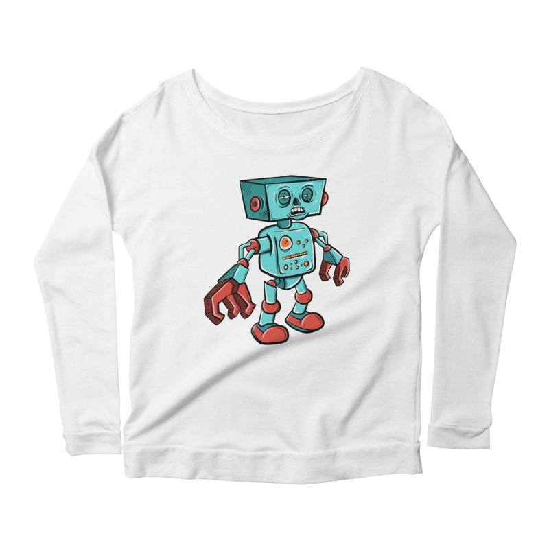 62d9d9 - Astro the Android Women's Longsleeve Scoopneck  by Pat Higgins Illustration