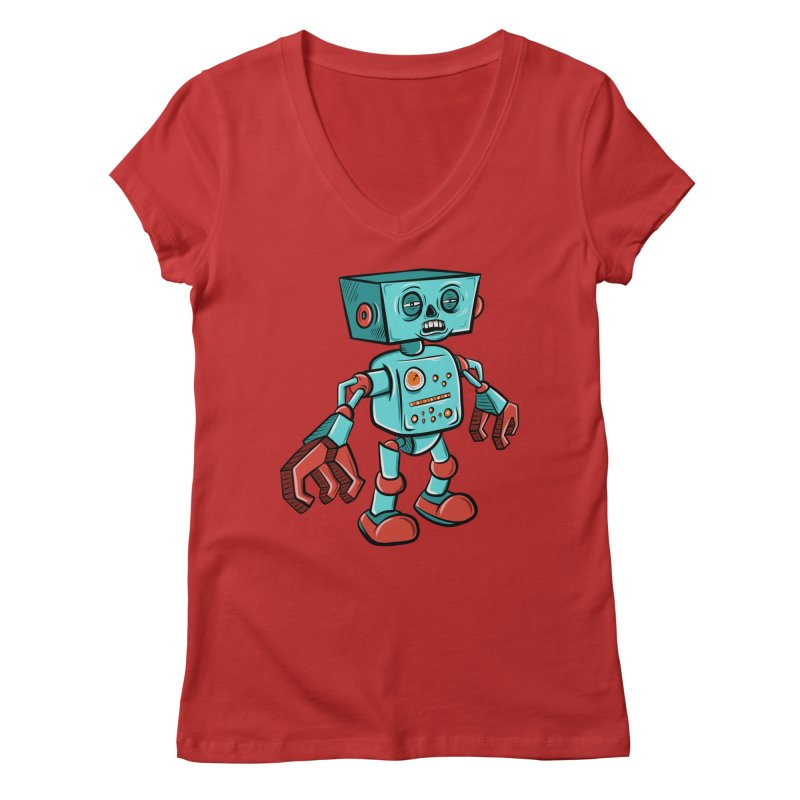 62d9d9 - Astro the Android Women's V-Neck by Pat Higgins Illustration