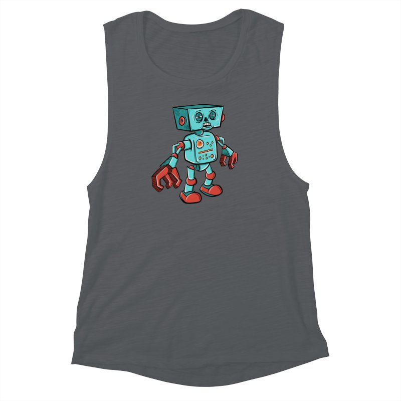 62d9d9 - Astro the Android Women's Muscle Tank by Pat Higgins Illustration