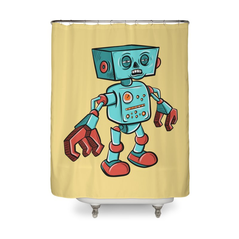62d9d9 - Astro the Android Home Shower Curtain by Pat Higgins Illustration