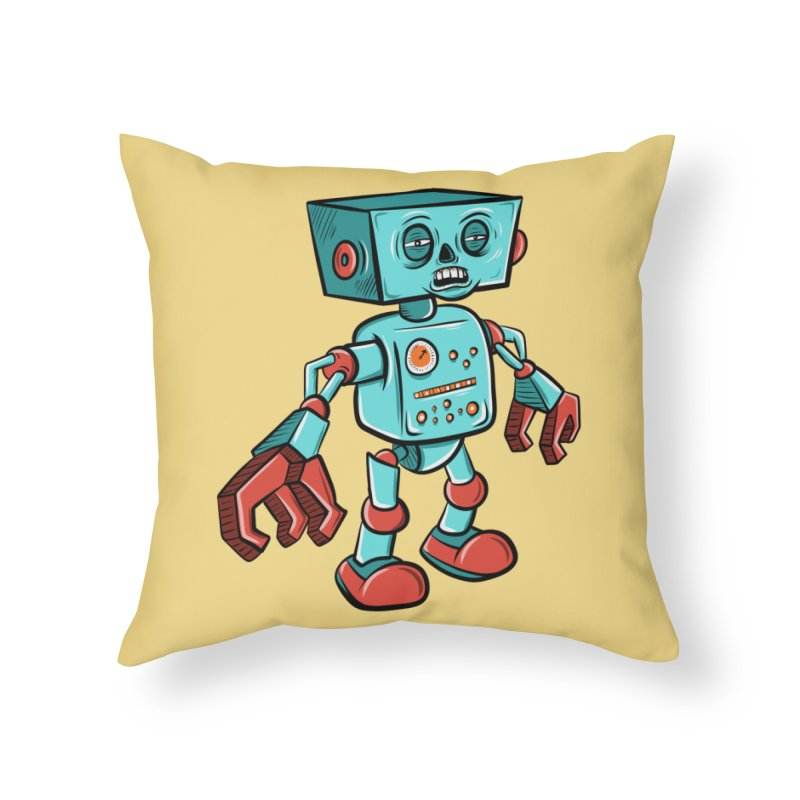 62d9d9 - Astro the Android Home Throw Pillow by Pat Higgins Illustration
