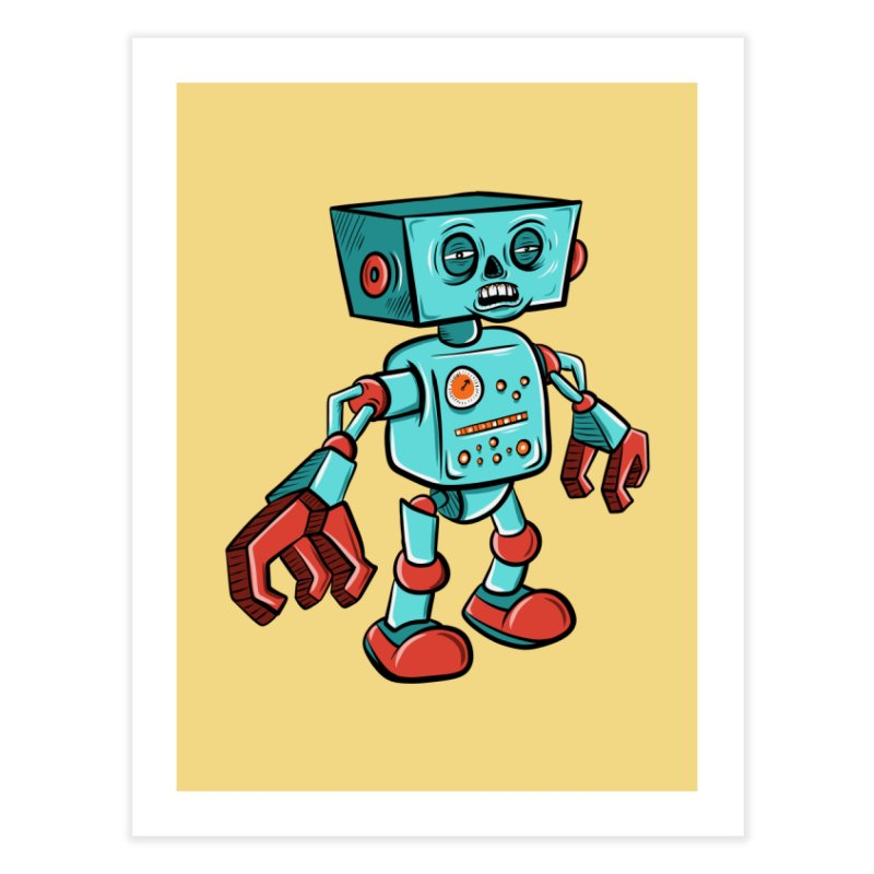 62d9d9 - Astro the Android Home Fine Art Print by Pat Higgins Illustration